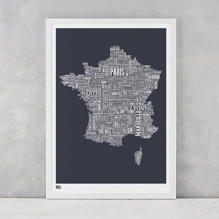 France Type Map in Sheer Slate, screen printed on recycled card, delivered worldwide