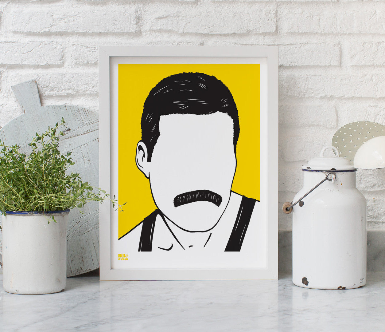 Wall Art ideas: Economical Screen Prints, Freddie Mercury print in bright yellow