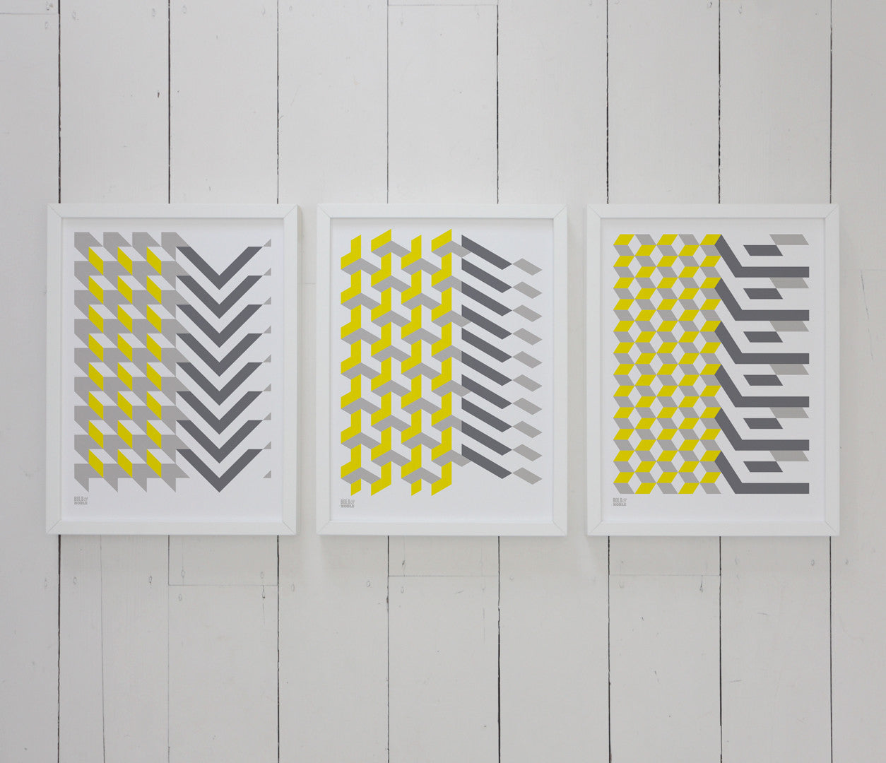 Wall Art ideas: Economical Screen Prints, Geometric Shapes Prints in grey and yellow