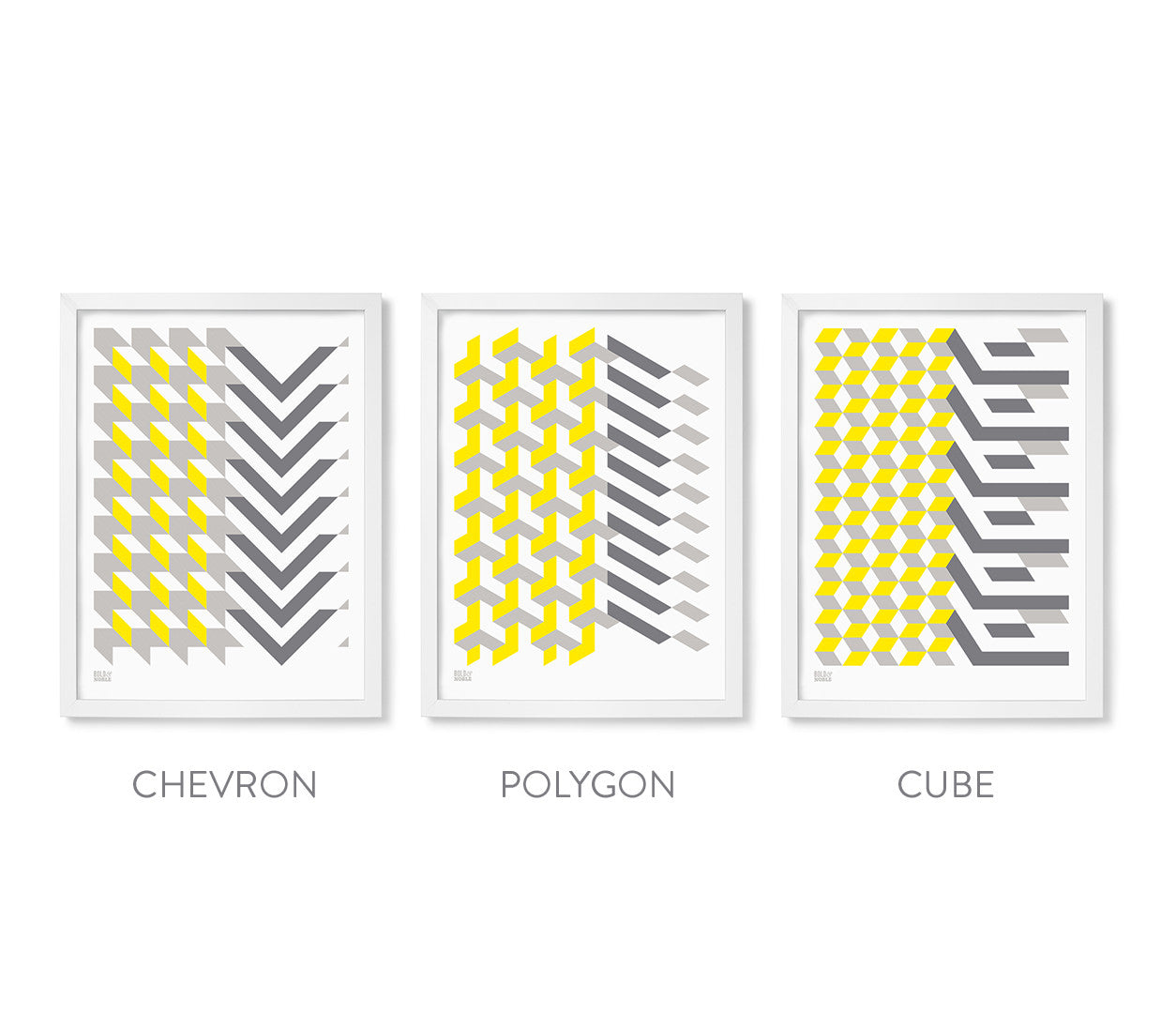 Geometric Set of 3 Wall Art Designs, Printed in the UK, Printed in Yellow and Grey