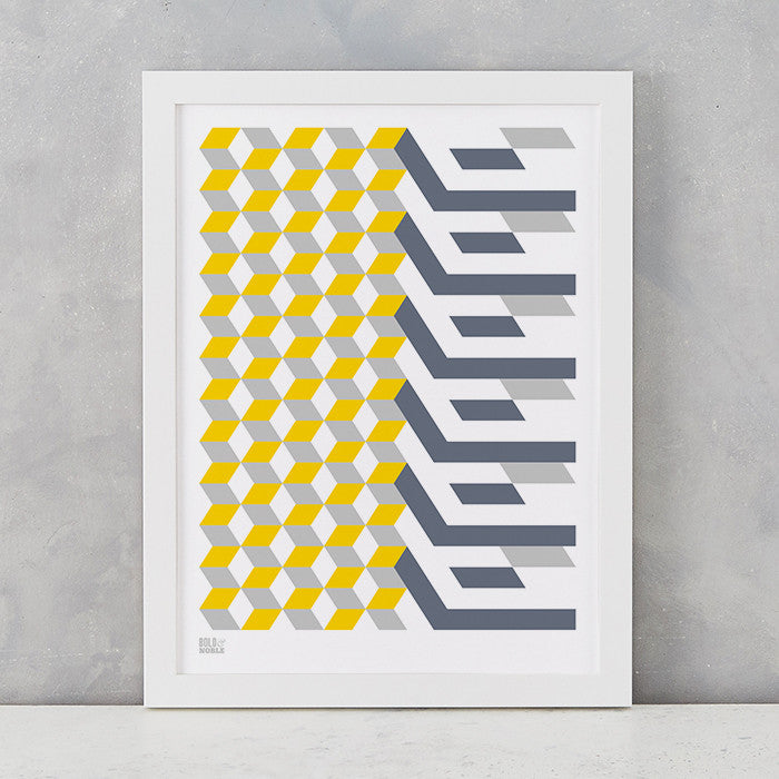 Geometric Cube Art Print, Screen Printed in the UK, deliver worldwide