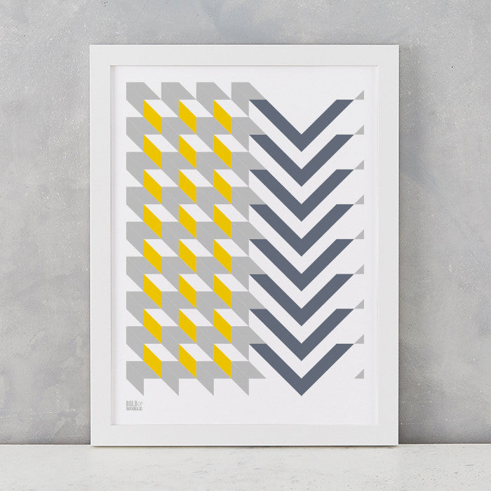 Geometric Chevron Art Print, Screen Printed in the UK, deliver worldwide