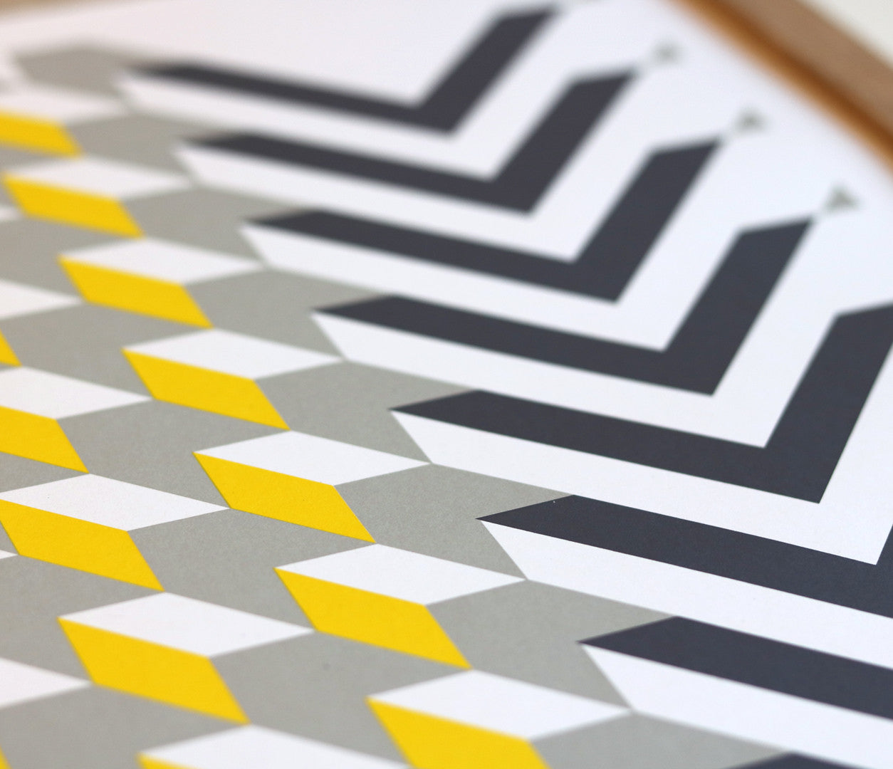 Close up of Geometric Chevron in Yellow and Grey