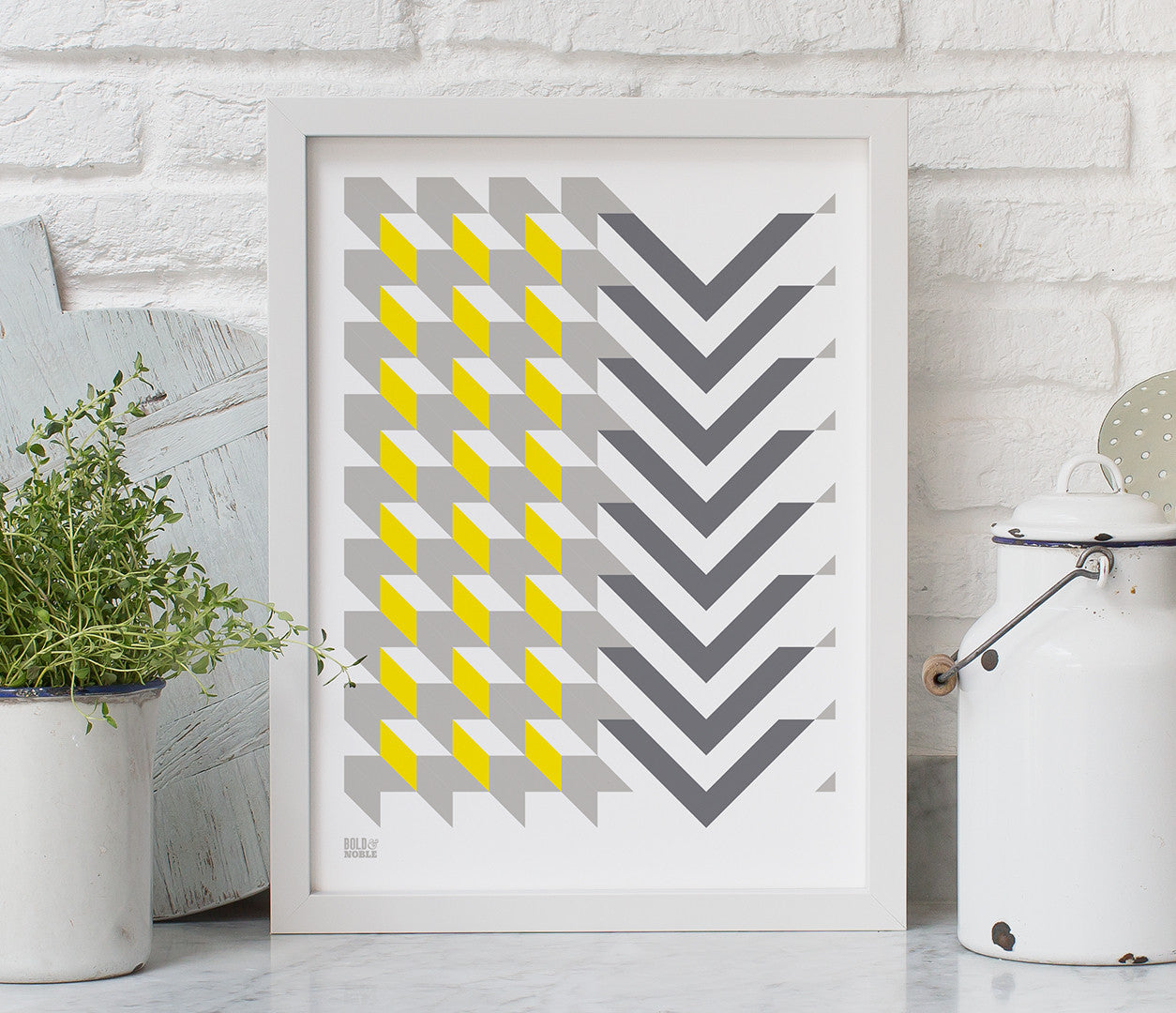 Geometric Chevron screen printed poster, pictures and wall art