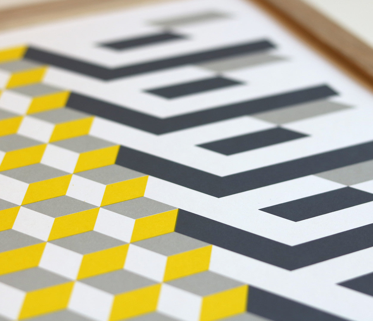 Close of Geometric Shape Print in grey and yellow
