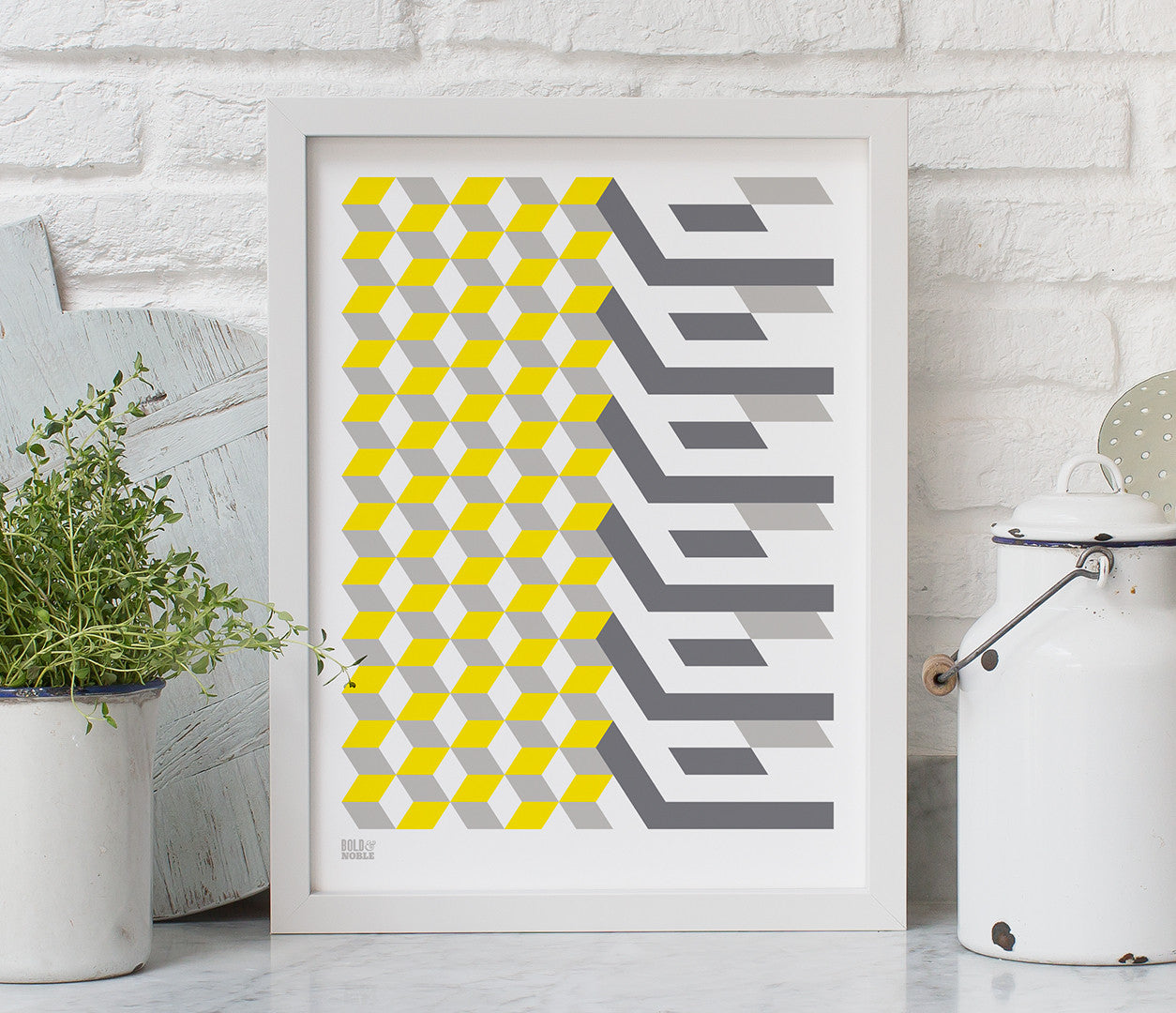 Geometric 'Cube' Art Print in Yellow/Grey