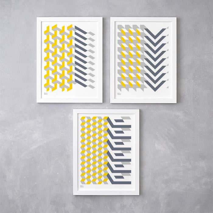 Geometric Shapes set of 3 screen prints in grey and yellow, printed on recycled card, delivered worldwide