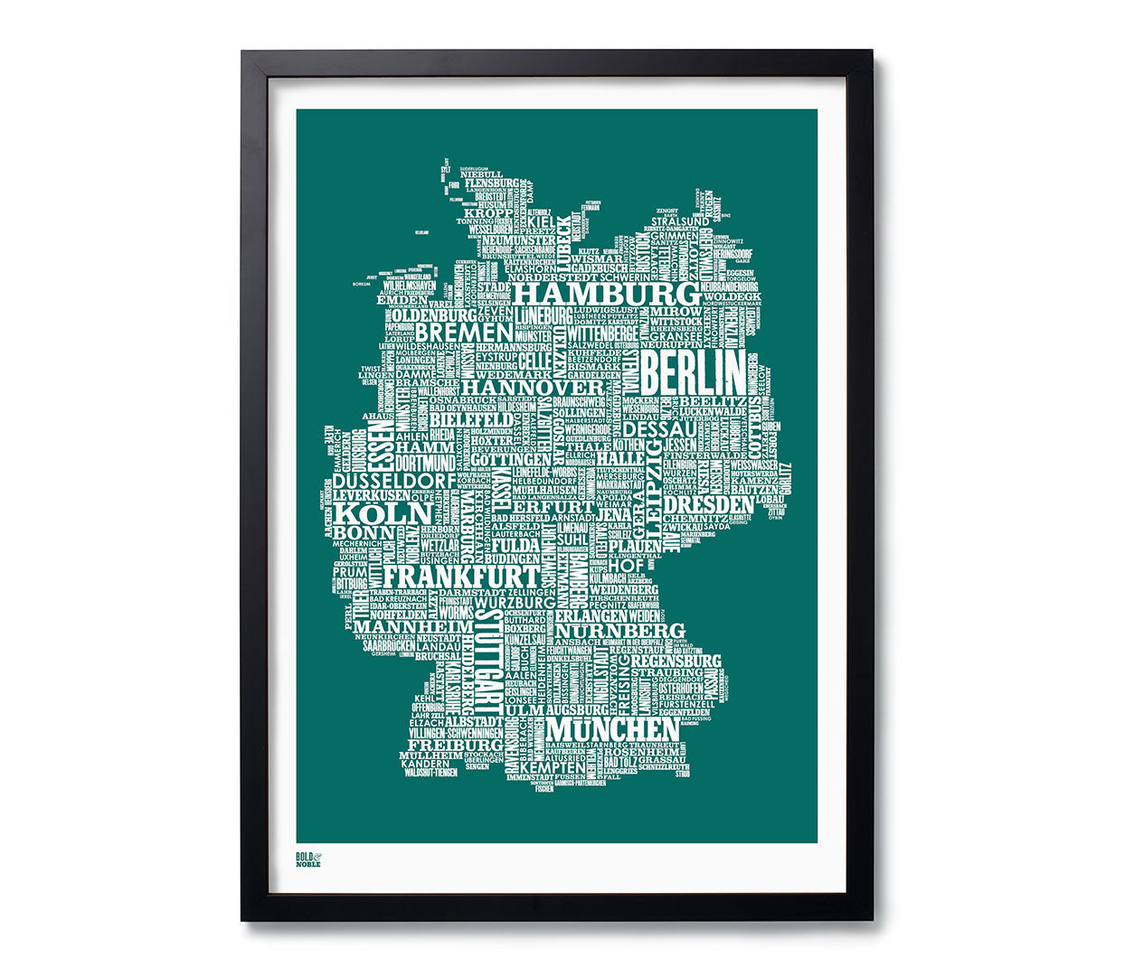 Map Of Germany To Print.Germany Type Map Print In Deep Sea Green