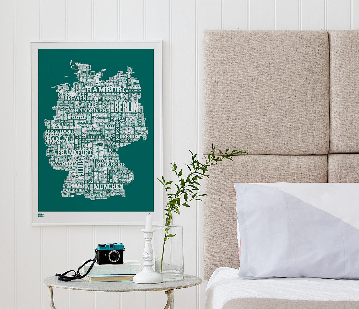 Wordle Germany Map Wall Art Print, Screen Printed Poster in Emerald Green