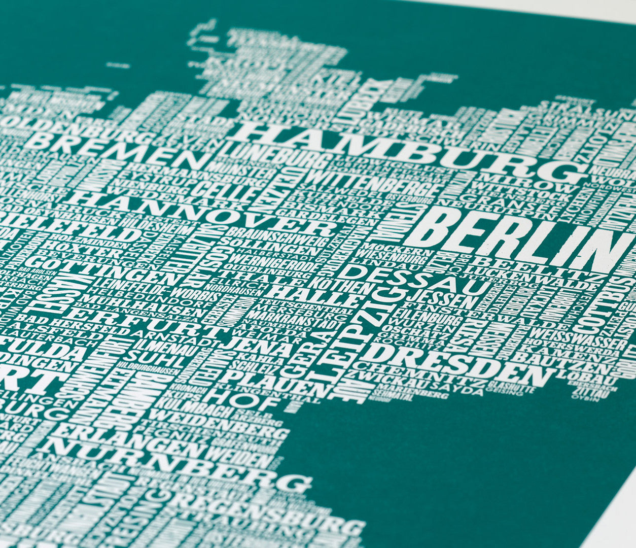 Close up of Germany Type Map in Emerald Green, screen printed poster