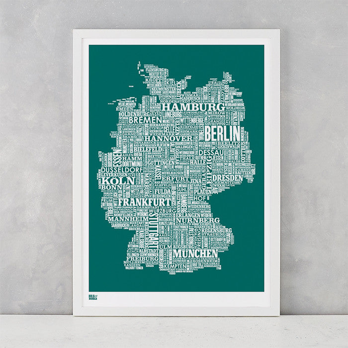 Germany Type Map in Emerald Green, screen printed on recycled card, delivered worldwide