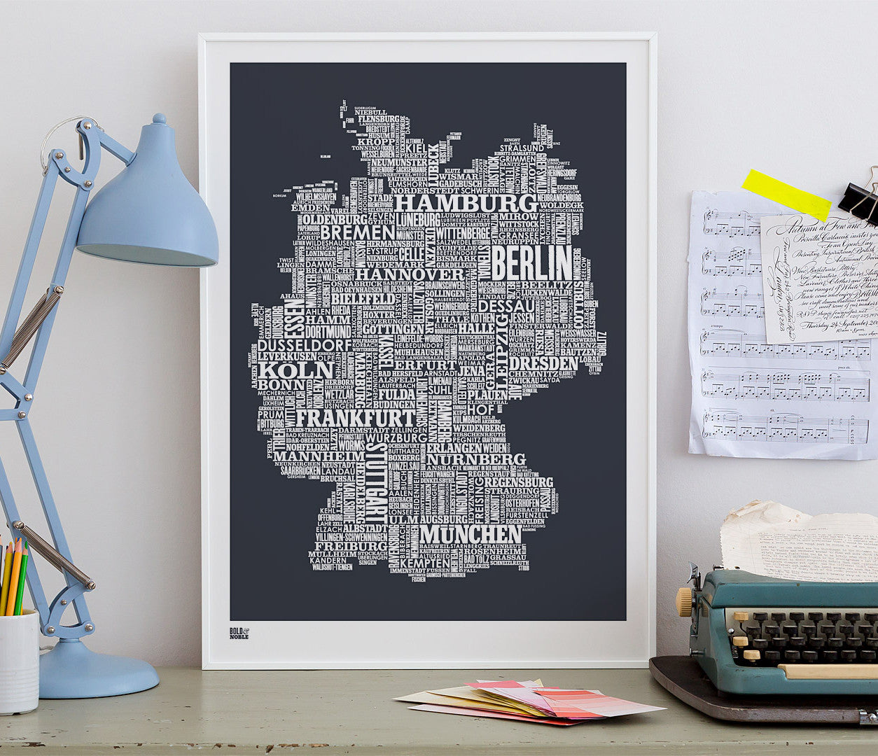 Wordle Germany Map Wall Art Print, Screen Printed Poster in Sheer Slate