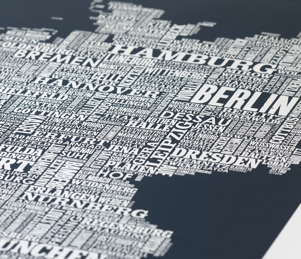 'Germany' Type Map Print in Sheer Slate