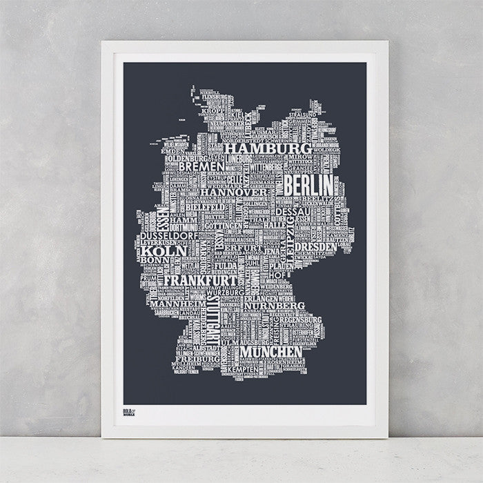 Germany Type Map in sheer slate, screen printed on recycled card, delivered worldwide