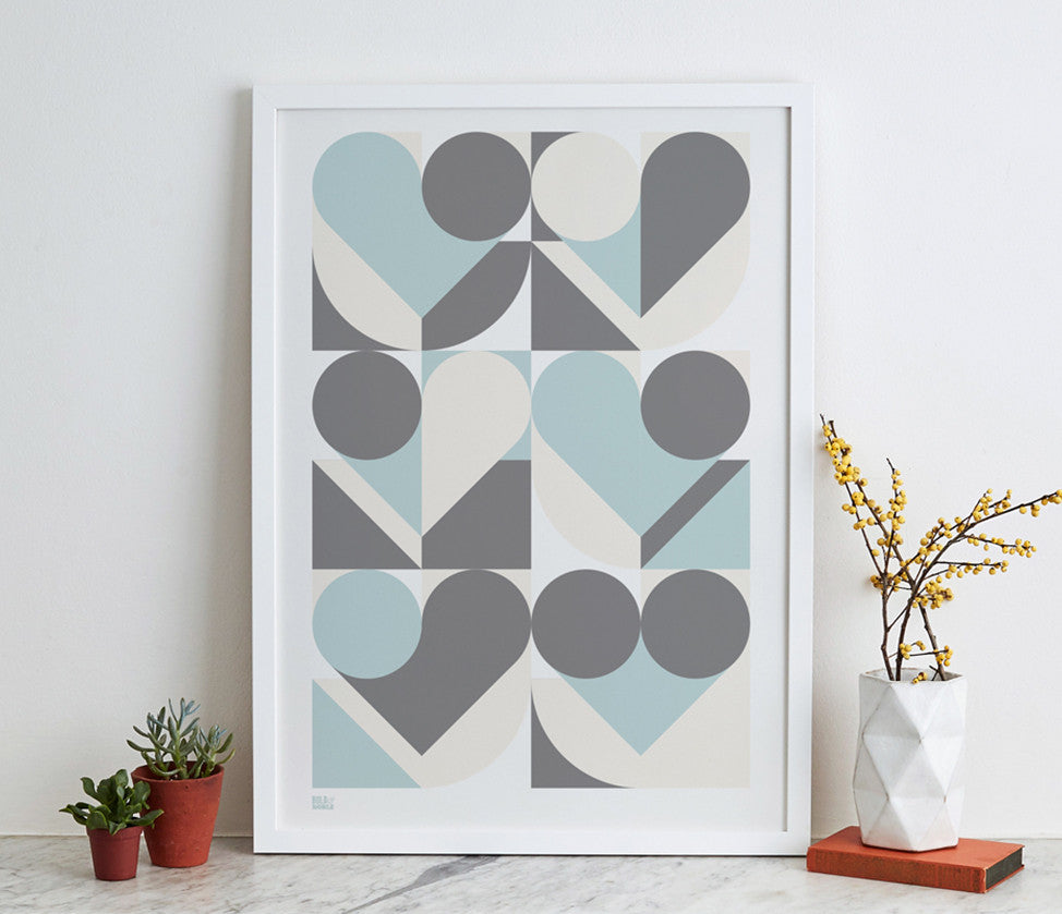 Wall Art ideas: Economical Screen Prints, Geometric Heart design in duck egg and grey