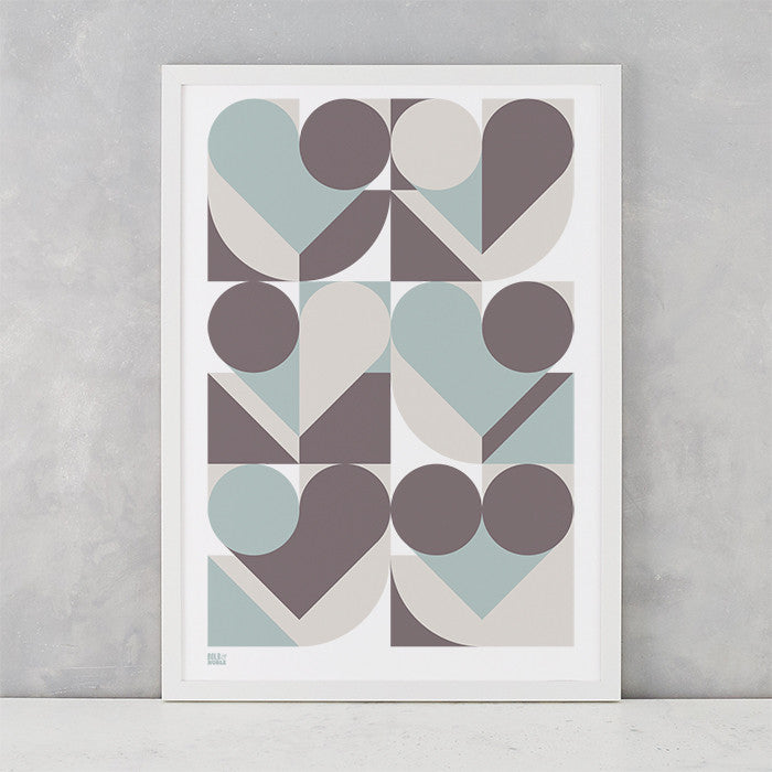 Geometric Heart Shape Print in duck egg blue and grey, screen printed on recycled card, delivered worldwide