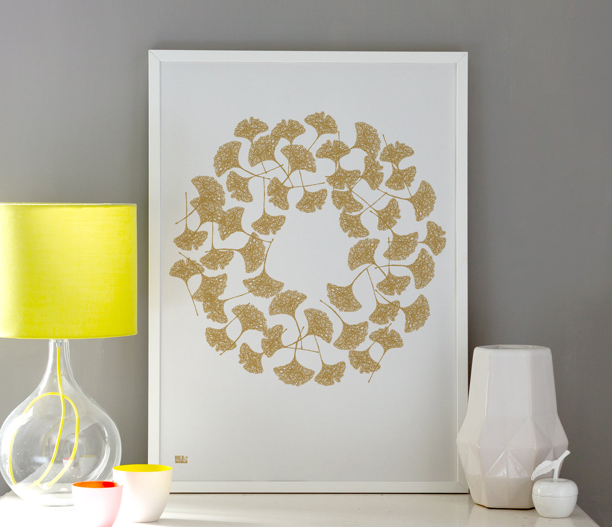 Wall Art ideas: Economical Screen Prints, Ginkgo Leaves in Bronze