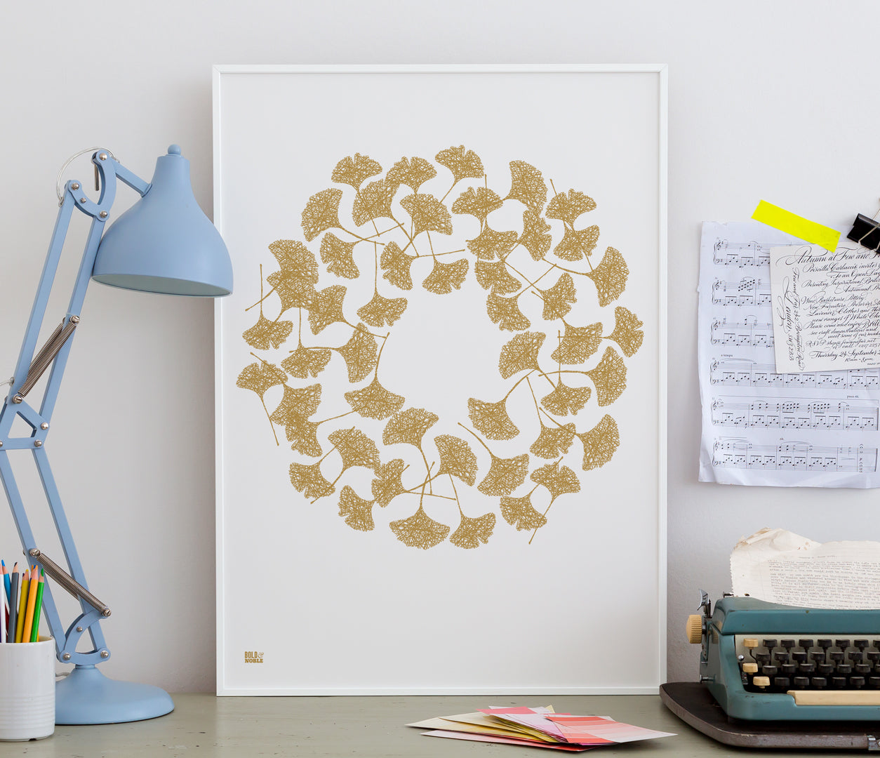 Pictures and Wall Art, Screen Printed Ginkgo Leaves in Bronze