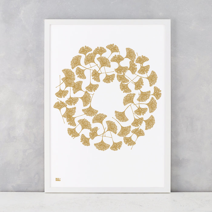 Gingko Leaves in Bronze, screen printed on recycled card, delivered worldwide