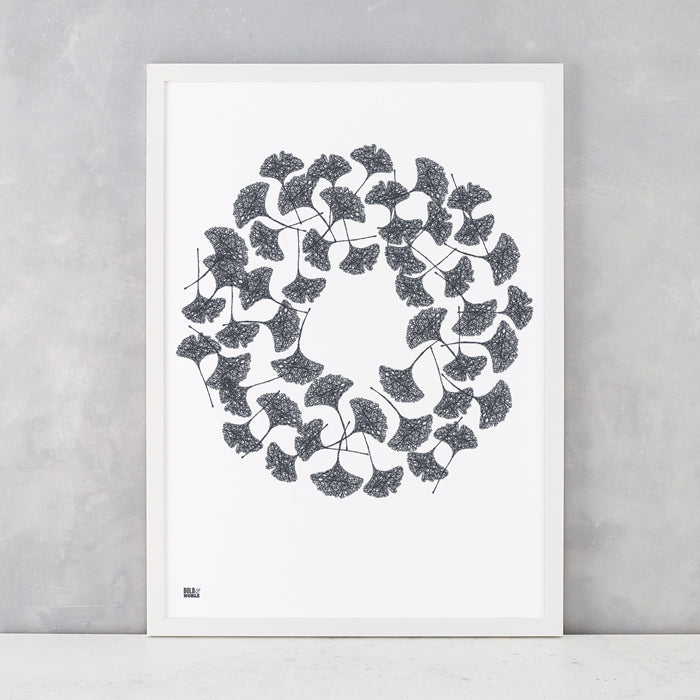 Gingko Leaves in Sheer Slate, screen printed on recycled card, delivered worldwide