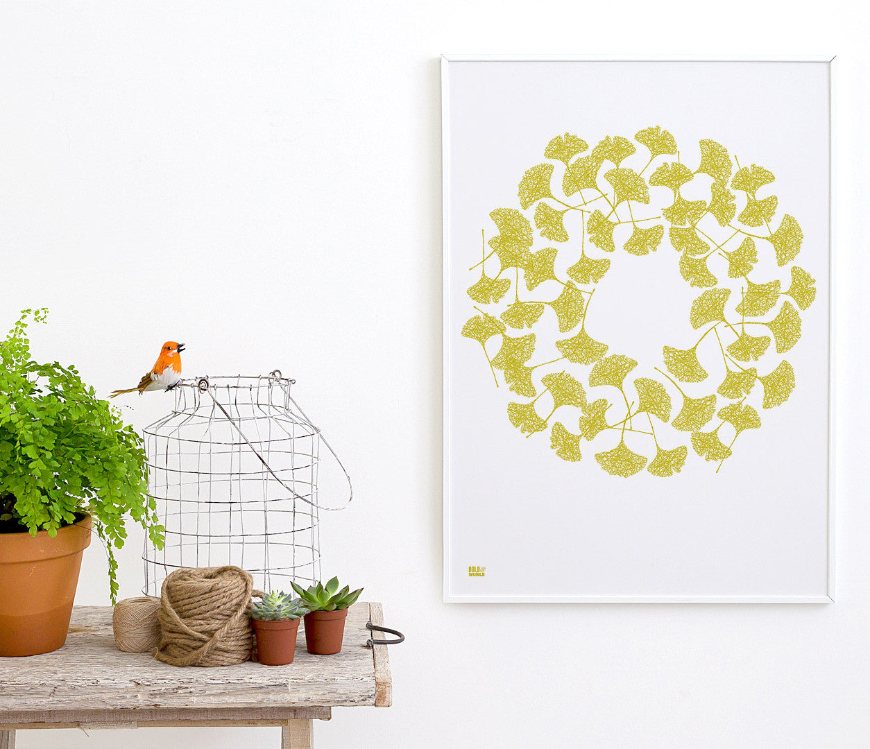Wall Art ideas: Economical Screen Prints, Ginkgo Leaves in Yellow Moss