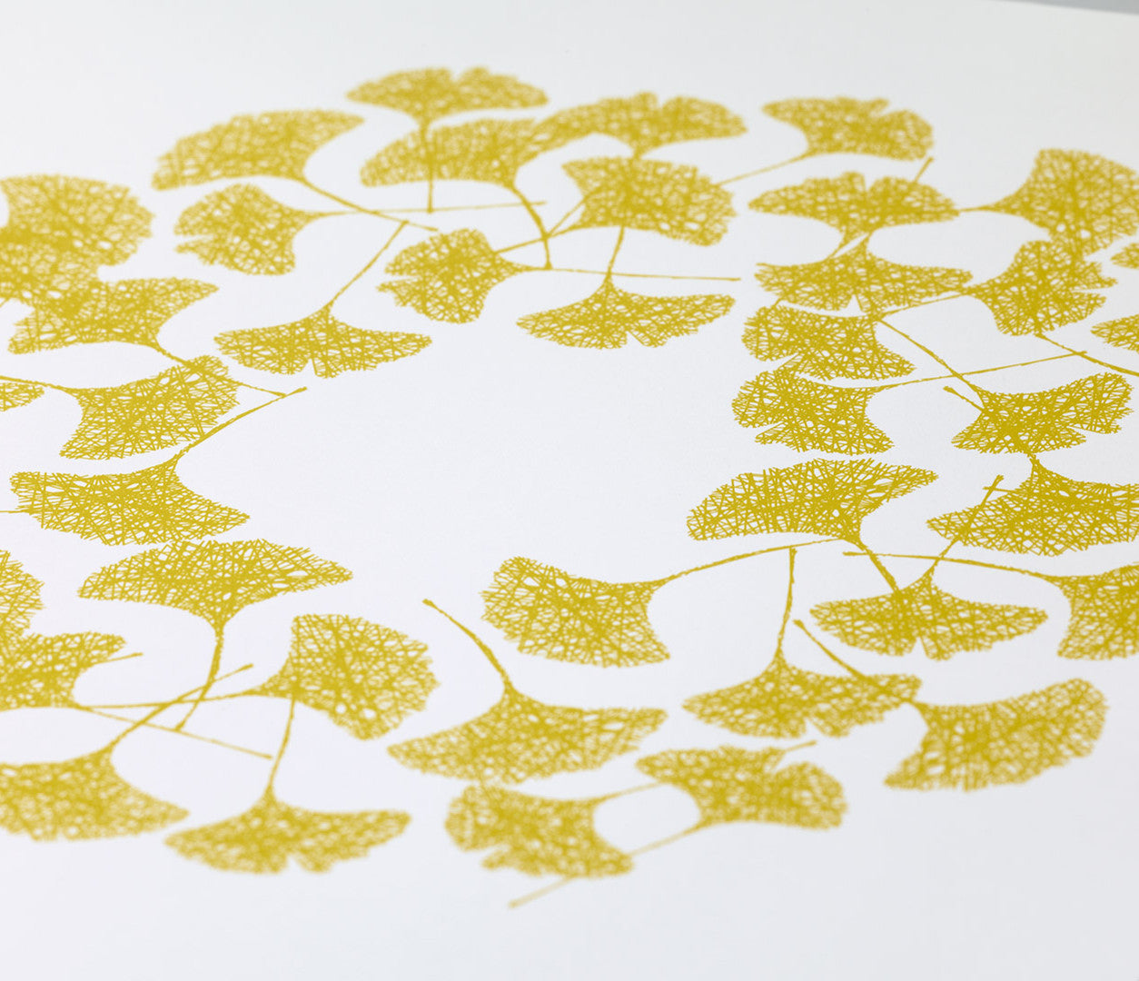 Close up of Ginkgo screen printed poster in yellow moss