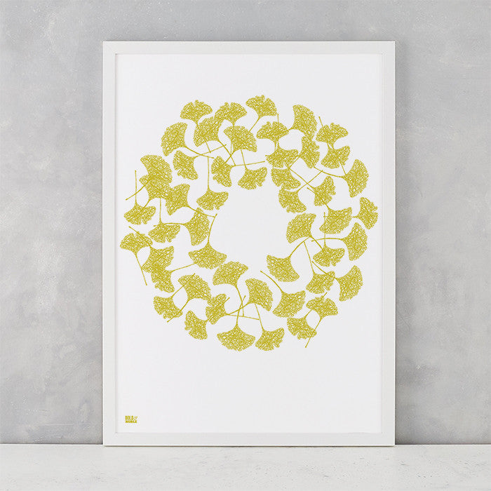 Gingko Leaves in Yellow Moss, screen printed on recycled card, delivered worldwide
