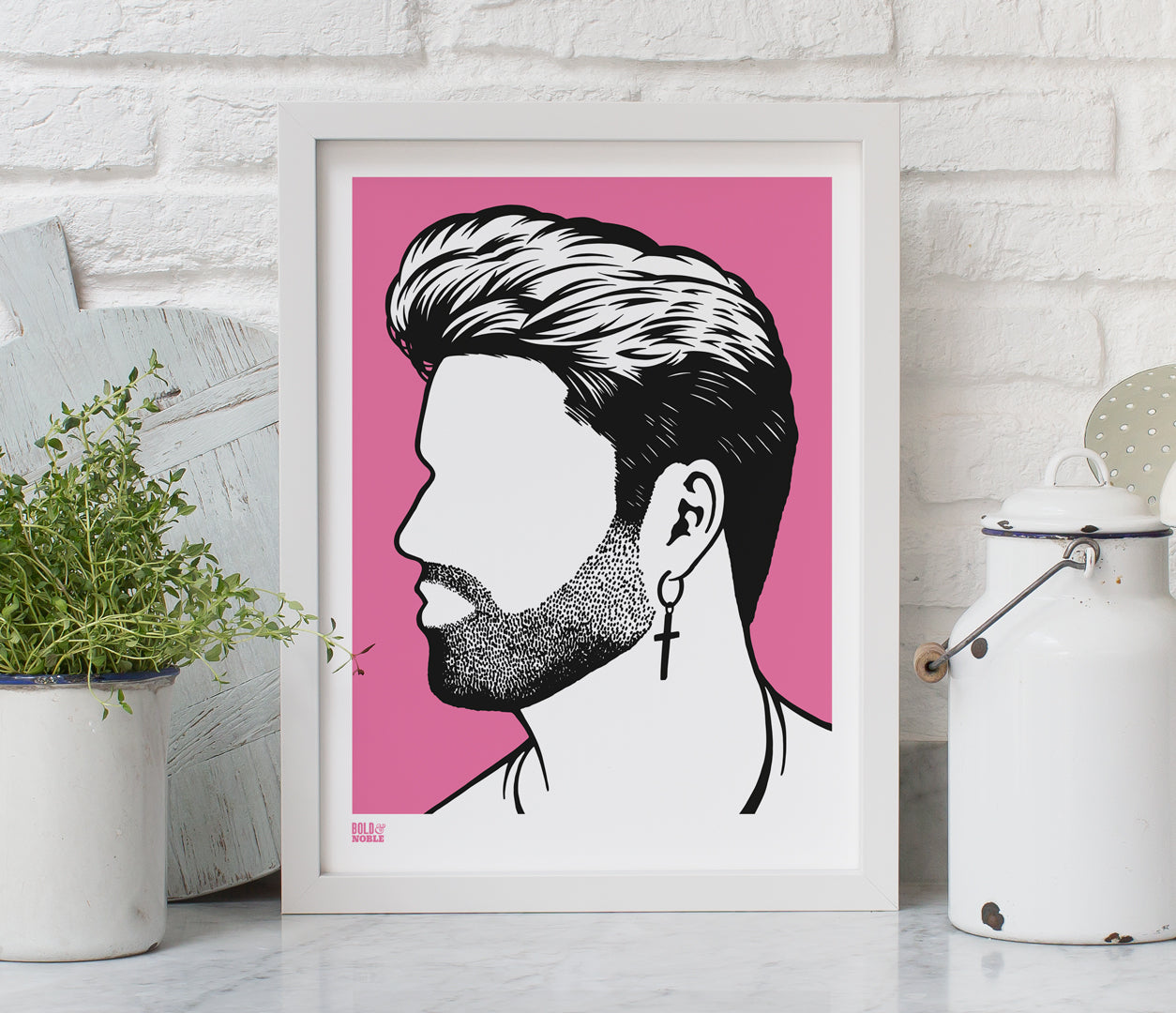 Wall Art ideas: Economical Screen Prints, George Michael print in pink