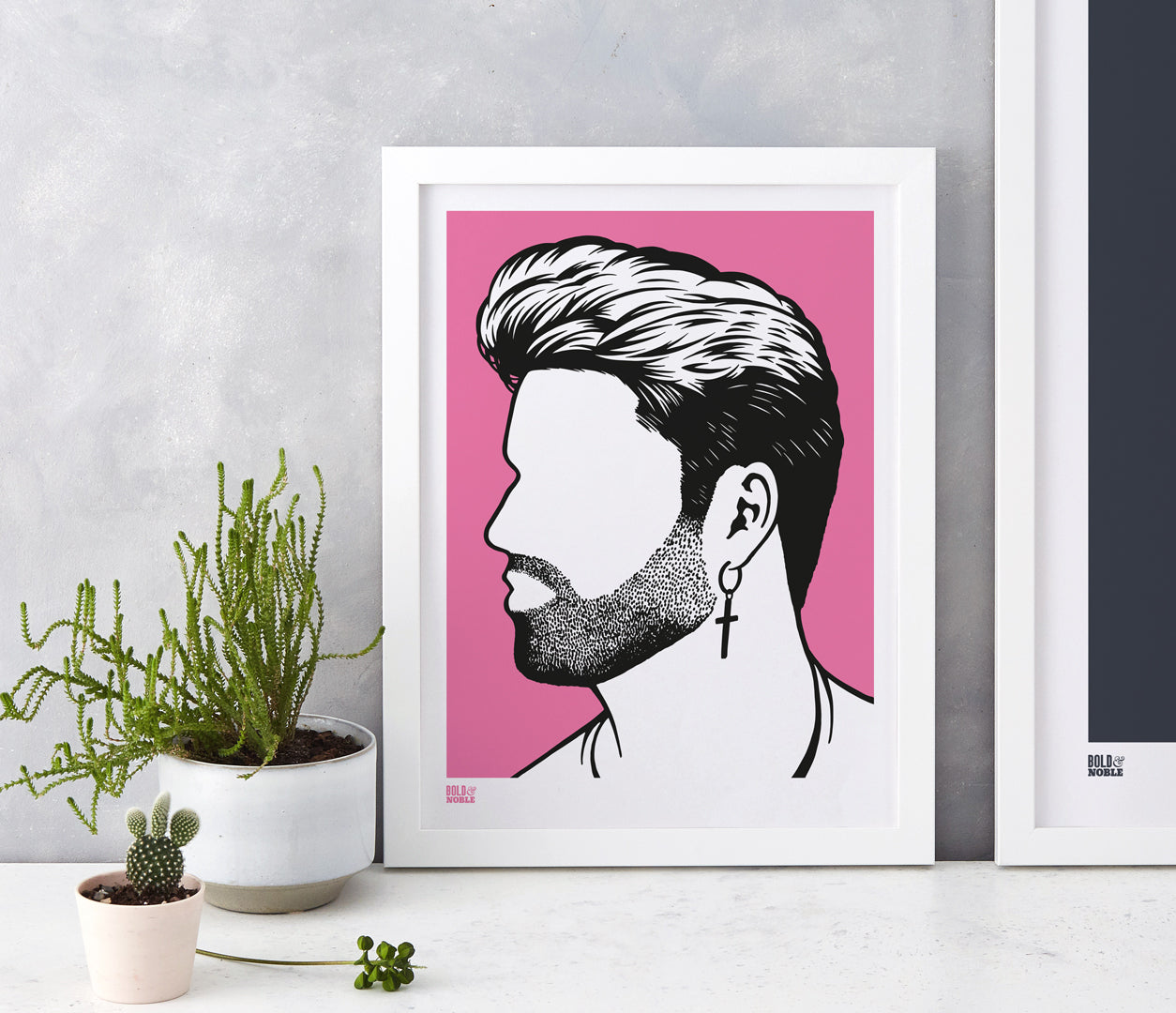 Pictures and Wall Art, Screen Printed George Michael print in pink