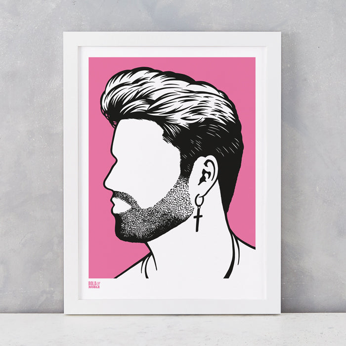 George Michael Print in Pink, screen printed onto recycled card, delivered worldwide