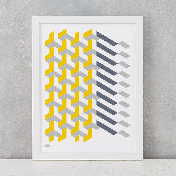 Geometric 'Polygon' Art Print in Yellow/Grey