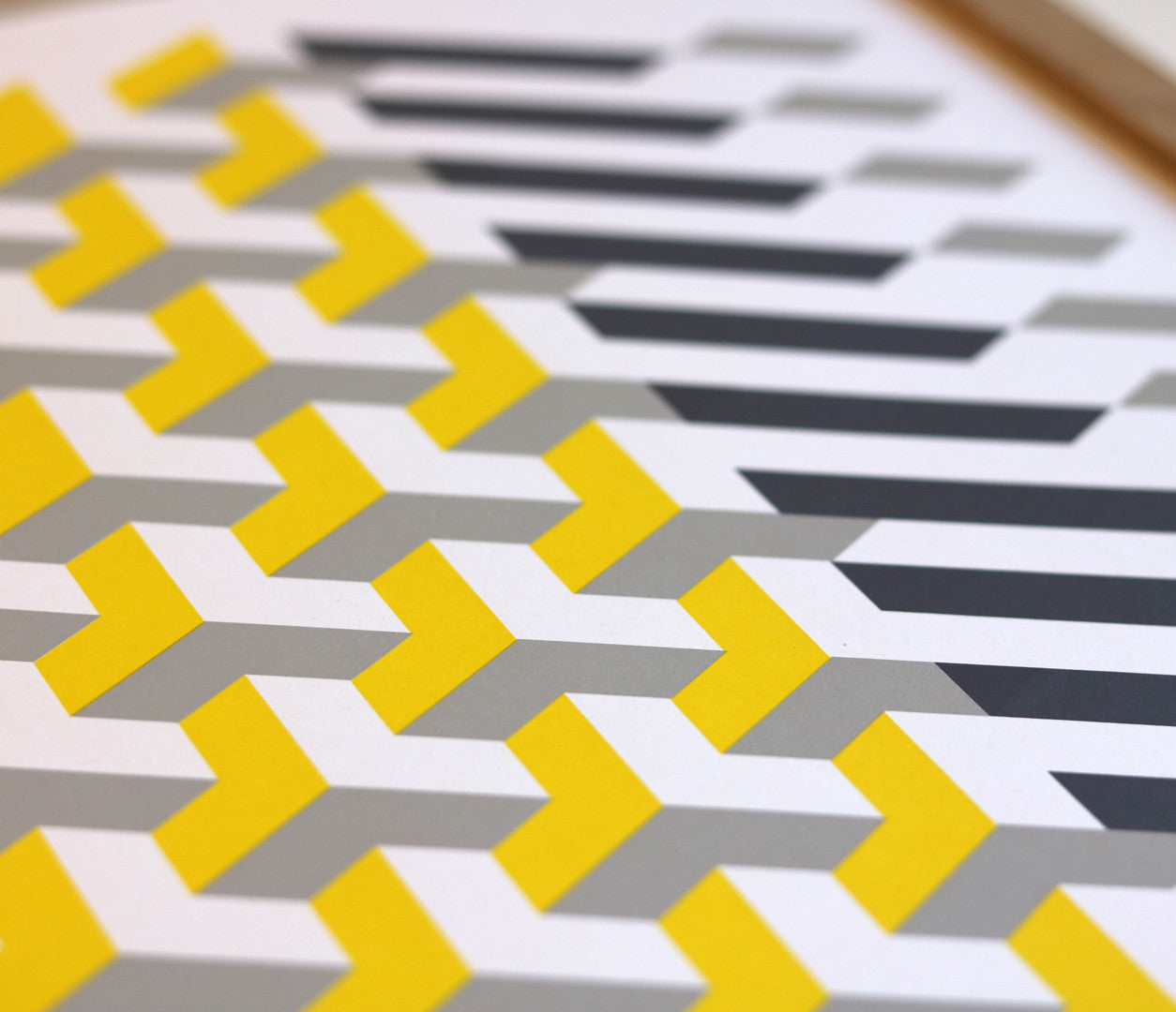 Close up of Geometric Polygon in Yellow and Grey