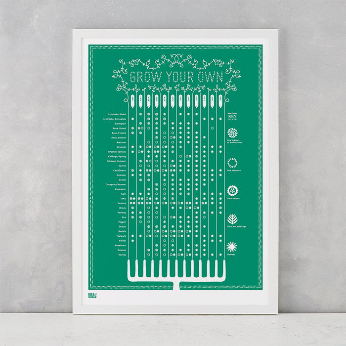Grow Your Own Planting Guide Print in Emerald Green, screen printed onto recycled card, delivered worldwide