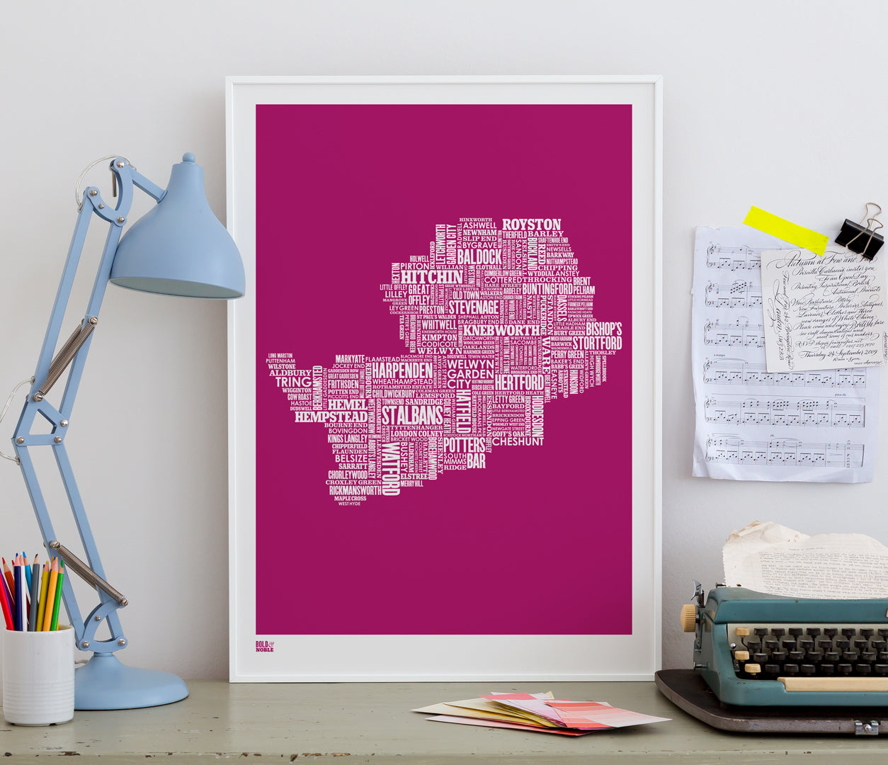 Pictures and Wall Art, Screen Printed Hertfordshire Type Map in Magenta Pink