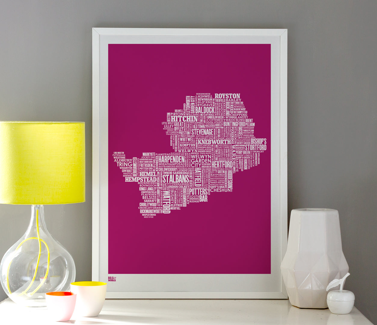 Wall Art ideas: Economical Screen Prints, Hertfordshire Type Map in Magenta Pink