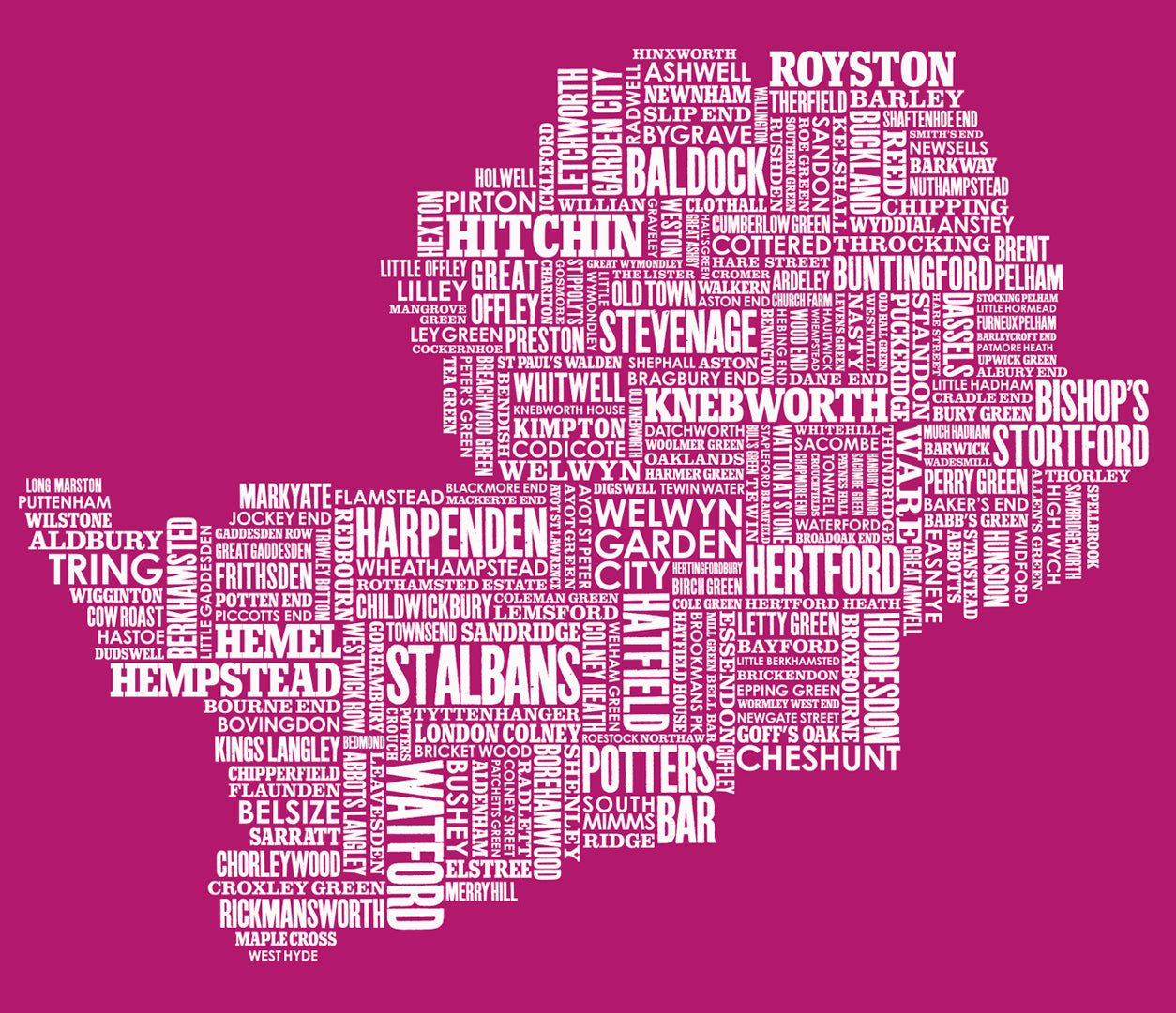 Close up of Hertfordshire Type Map in Magenta Pink, screen printed poster