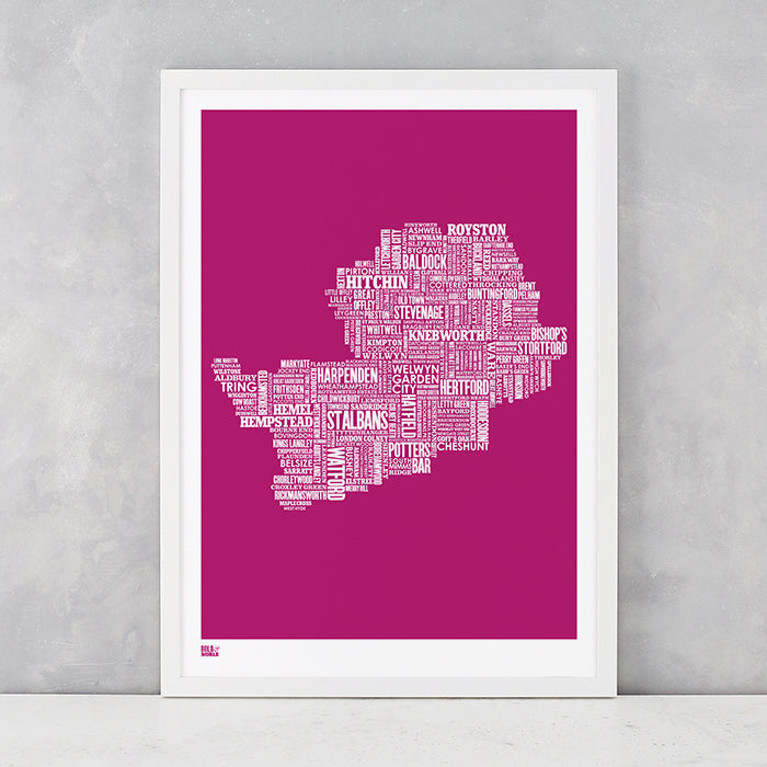 Hertfordshire Type Map in Magenta Pink, screen printed on recycled card, delivered worldwide