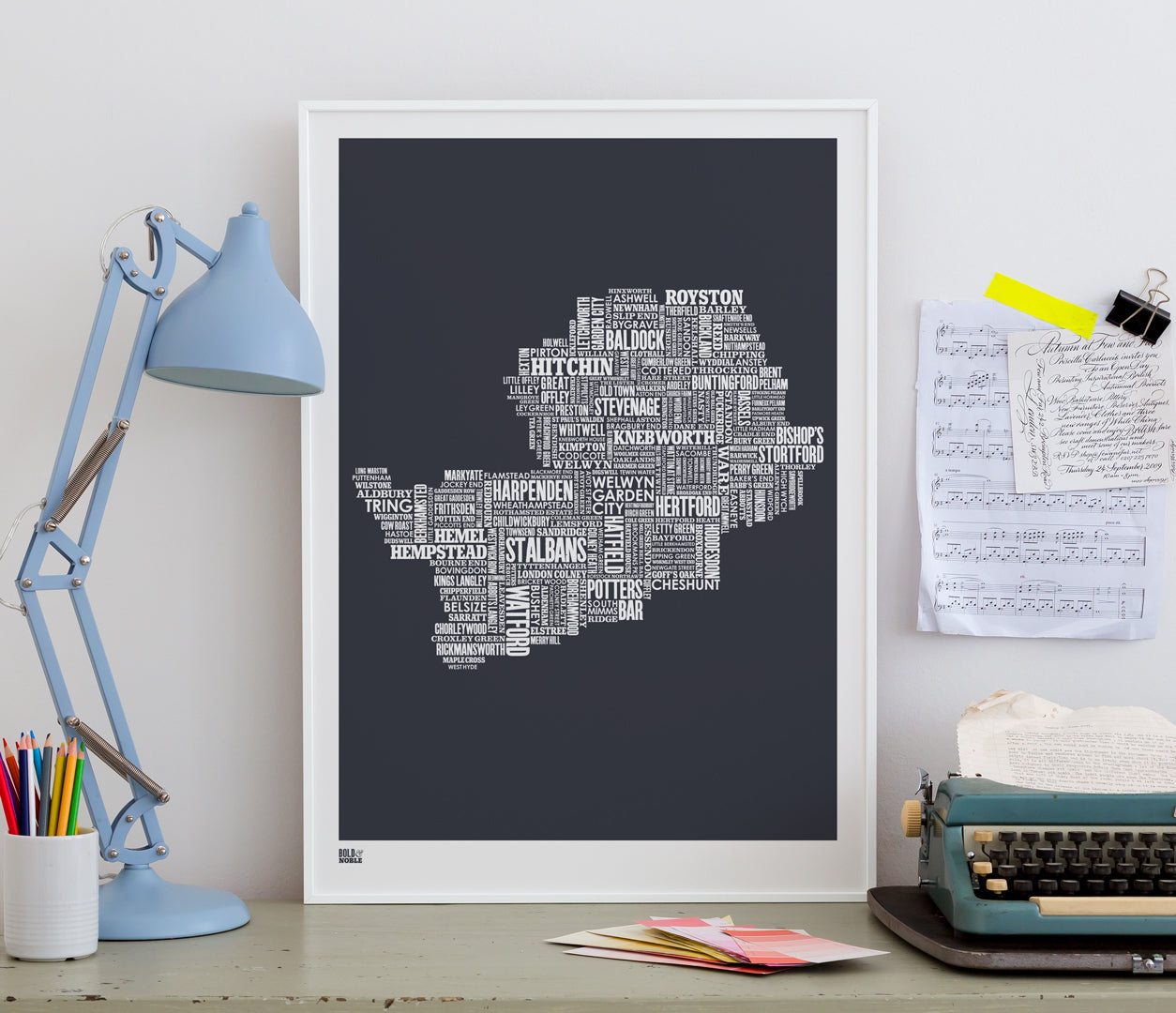 'Hertfordshire' Type Map Print in Sheer Slate