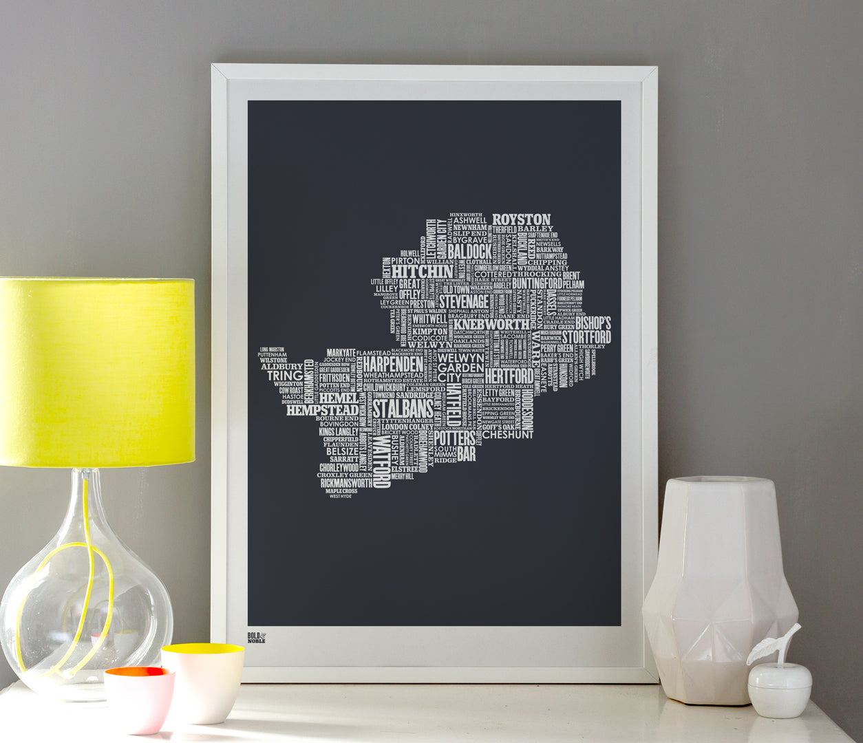 Pictures and Wall Art, Screen Printed Hertfordshire Type Map in Sheer Slate