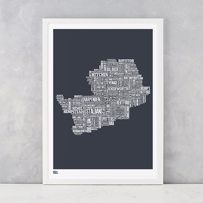 Hertfordshire Type Map in Sheer Slate, screen printed on recycled card, delivered worldwide