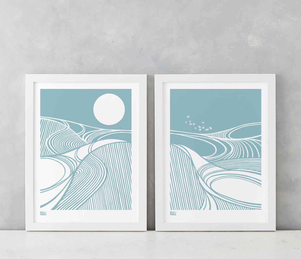 'Harvest Fields' Set of 2 in Coastal Blue
