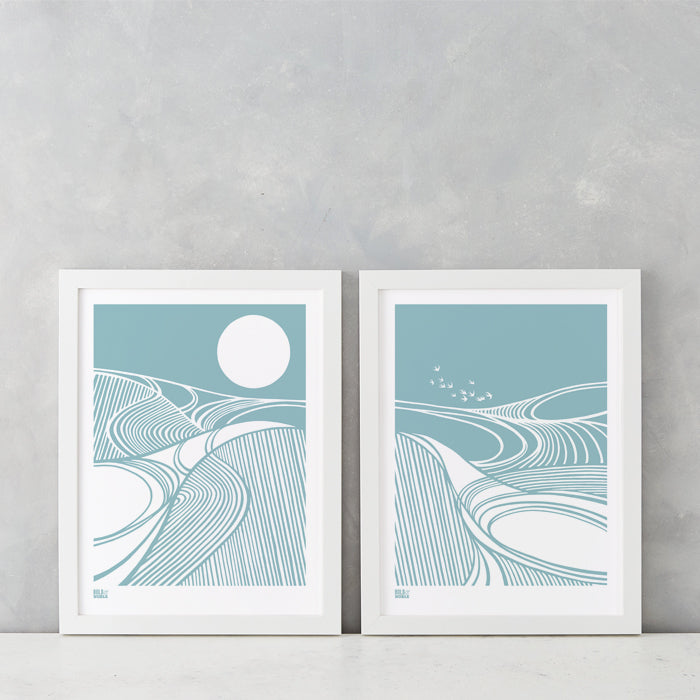 Harvest Moon and Fields set of 2 prints in Coastal Blue, printed on recycled card, delivered worldwide