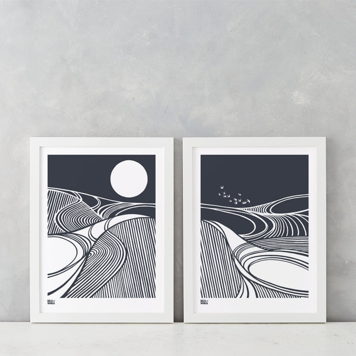 Harvest Moon and Fields set of 2 prints in Sheer Slate, printed on recycled card, delivered worldwide