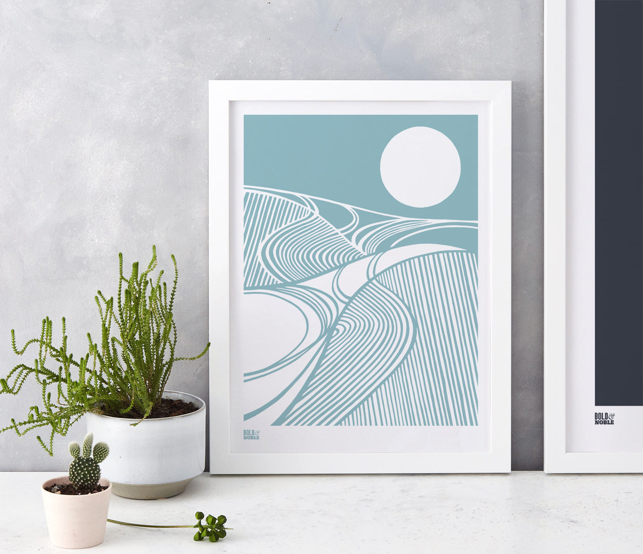 Harvest Field Moon Wall Art Print in Blue, Modern Print Designs for the Home