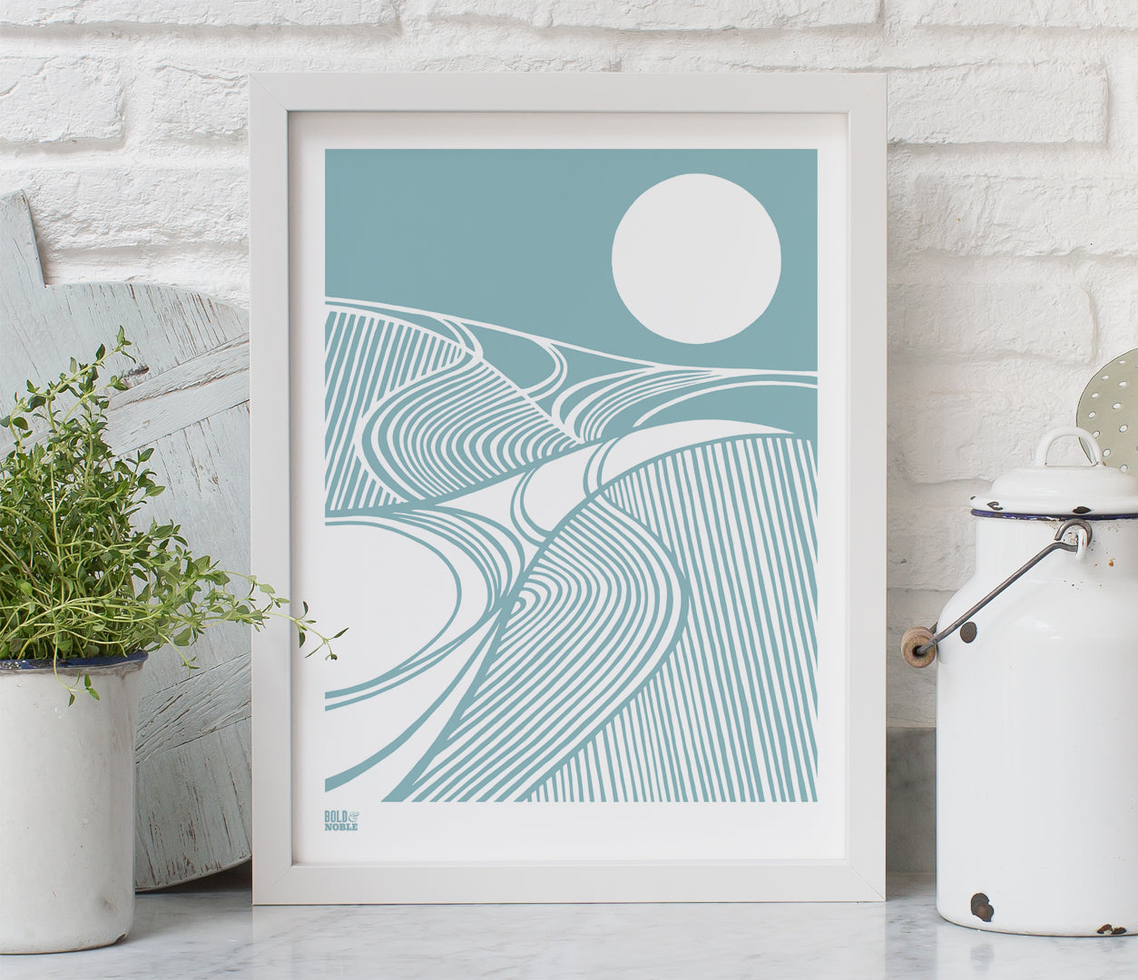 Harvest Moon Print in Coastal Blue, printed on recycled card, delivered worldwide