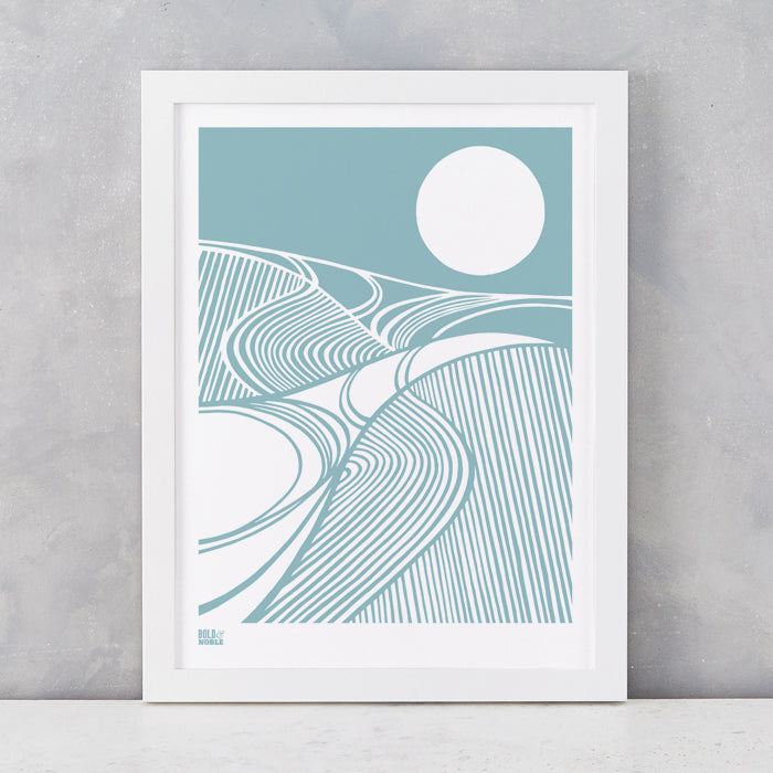 Harvest Field 'Moon' Art Print in Coastal Blue