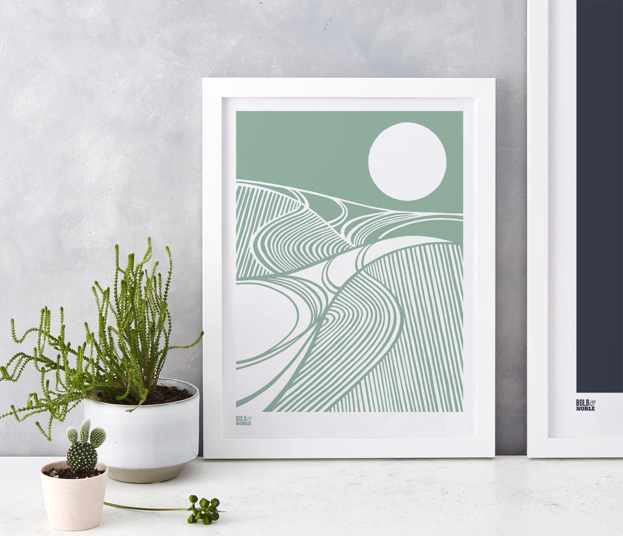 Harvest Field Moon Wall Art Print in Green, Modern Print Designs for the Home