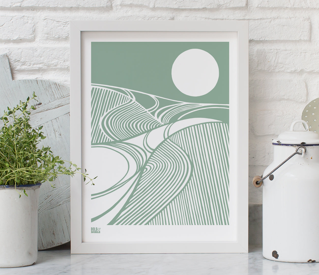 Harvest Moon Print in Seafoam Green, printed on recycled card, delivered worldwide