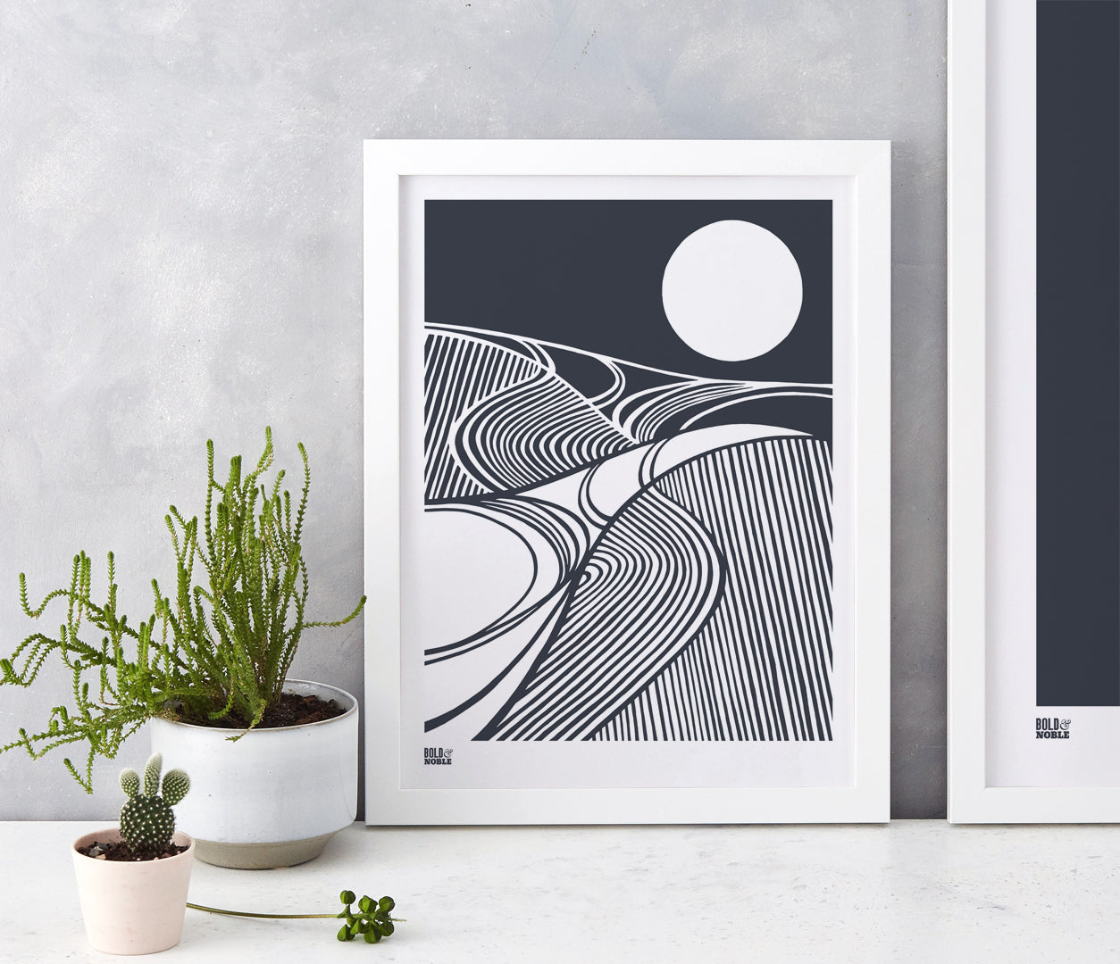 Harvest Field Moon Wall Art Print in Slate Grey, Modern Print Designs for the Home