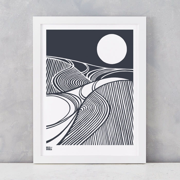 Harvest Field 'Moon' Art Print, Screen Printed in the UK, deliver worldwide